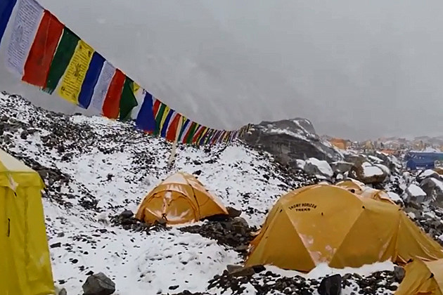 ... was captured on video as it slammed into a Mount Everest base camp
