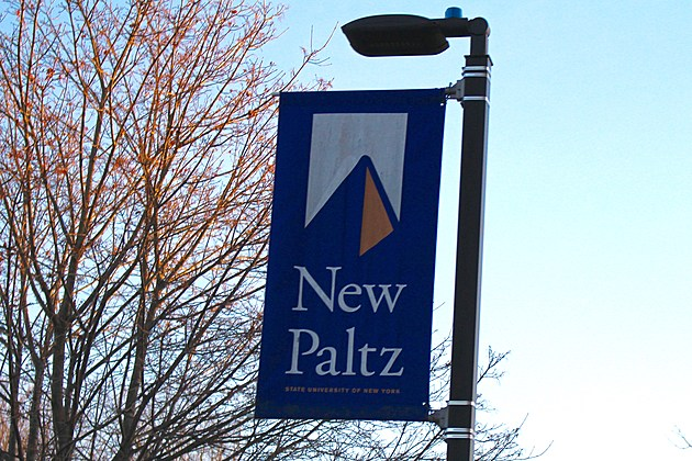 A banner sign on the SUNY New Paltz campus.